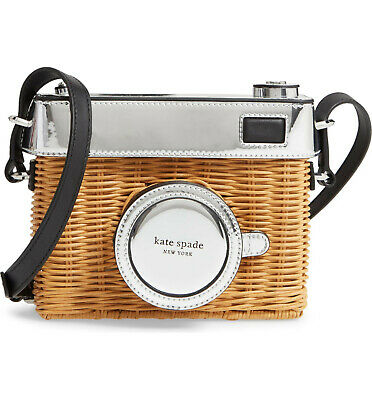 kate spade rose 3d CAMERA wicker silver leather CROSSBODY Bag Novelty Handbag for sale  Shipping to India