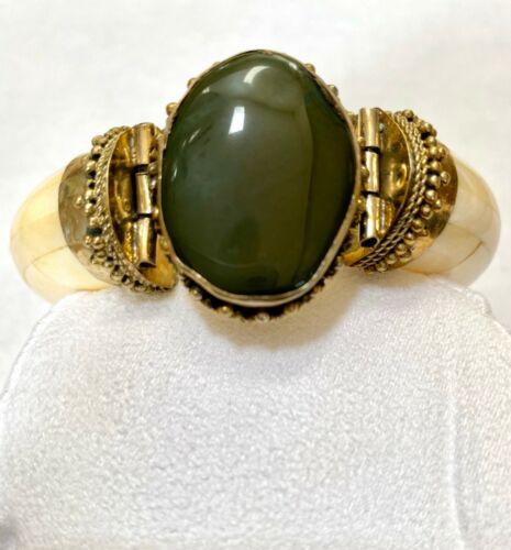 Vintage Bovine Bone Brass Natural Green Stone Hinged Bangle Bracelet Costume