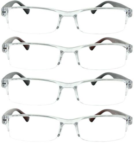 4 Pack Reading Glasses Readers Men Women Semi Rimless Square Frame