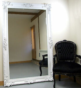 Paris ornate extra large french full length wall leaner for White full length wall mirror