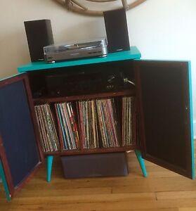 Vintage teal record cabinet storage