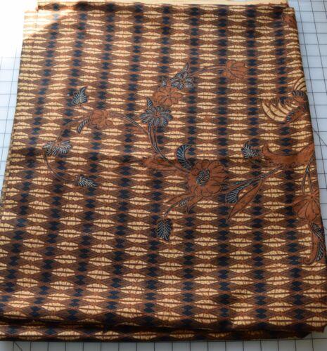 8221  2 1/2 yds Vintage Indonesian cotton batik fabric, black, shades of brown