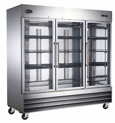 Saba Heavy Duty Commercial Stainless Steel Reach-in Refrigerator 3 Glass Doors