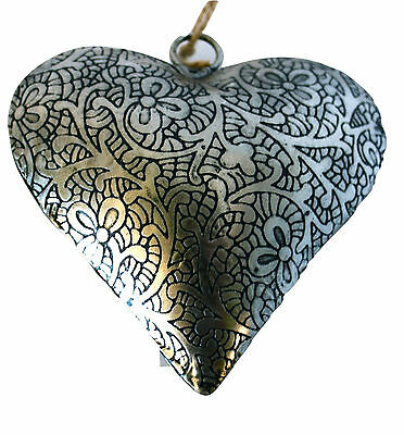 "Holiday! Unique Handmade Etched Tin 4""Heart by Culturas Trading Company-Set of 4"