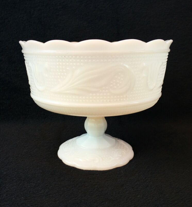 Beautiful Vintage Milk Glass Compote Bowl E.O BRODY