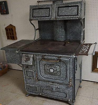 Antique WROUGHT IRON HOME COMFORT COOKSTOVE Wood Coal Gray Enamel