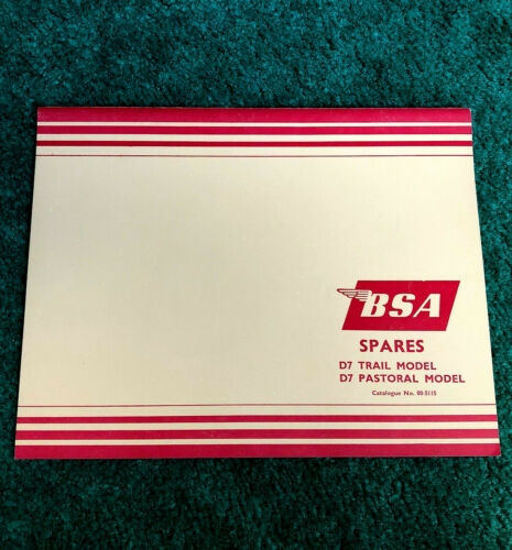 NOS ORIGINAL 1964 BSA MOTORCYCLE PARTS MANUAL D7 TRAIL PASTORAL BANTAM 175