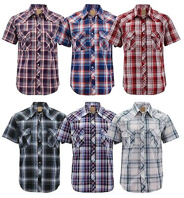 Men's Western Short Sleeve Button Down Casual Plaid Pearl Snap Cowboy Shirt