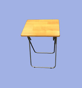 New Folding / Foldable Occasional TV Table Tea Coffee Bed Side With Metal Legs