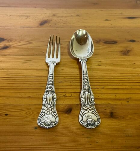 PAUL STORR=STERLING SILVER=TABLE FORK & SPOON=1821=COBURG PATTERN=LONDON=ENGLAND
