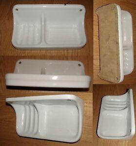 porcelaine blanche ancien porte savon double ebay. Black Bedroom Furniture Sets. Home Design Ideas