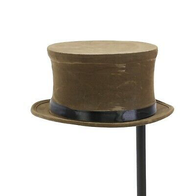 Top Hat Brown Pop Up Foldable Steampunk Mad Hater Concho Slash Hat Suede Like
