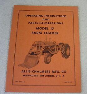 ALLIS CHALMERS 17 FARM LOADER OPERATOR PARTS MANUAL