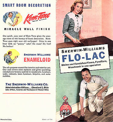 Sherwin Williams Flo Lac Stain   Varnish 1947  Brochure   Color Chart