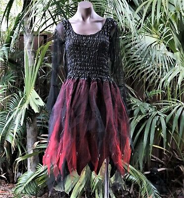 Women's Fairy Dress Costume with Sleeves & Wings - HALLOWEEN BLACK & RED  - Halloween Costumes With Tulle