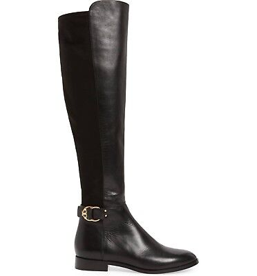 Tory Burch MARSDEN Stretch Riding Boots Flat Equestrian Booties 6 Over Knee