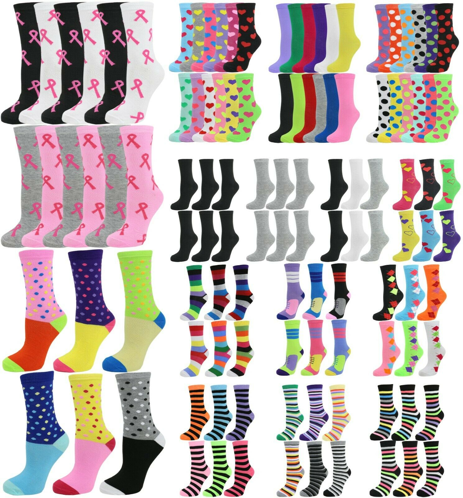 6 Pack/12 Pack Women's Cotton Crew Socks Clothing, Shoes & Accessories
