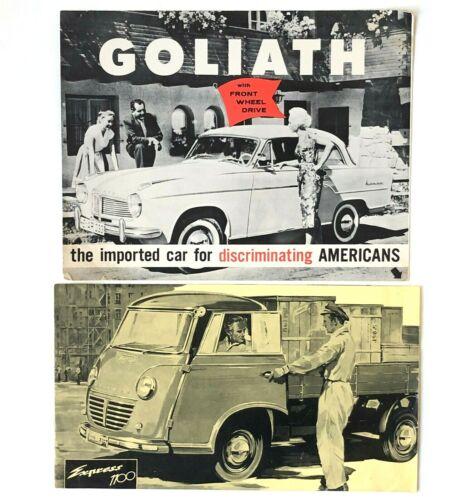 Lot of 2 Vintage Goliath 1100 Brochures Poster Empress Goliath Cabriolet Station