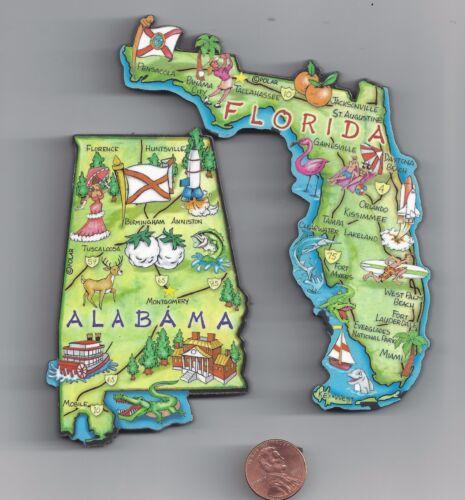 ALABAMA AL and FLORIDA FL    JUMBO  ARTWOOD STATE MAP MAGNET SET - 2 NEW MAGNETS