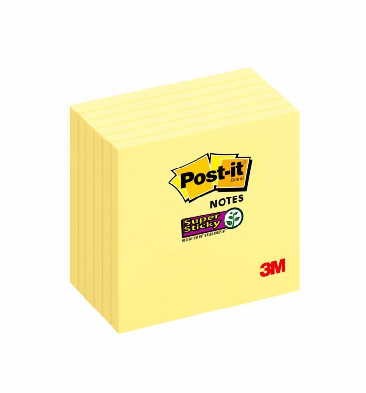 """Post-it Notes, Super Sticky, 3"""" x 3"""", 6 90 Sheets/Pad, 6 Pads"""