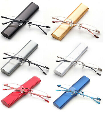 Classic Rimless Compact Reading Glasses Readers Travel Slim Design with (Glass Readers)
