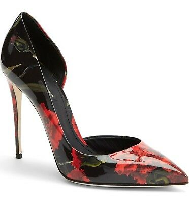 Dolce & Gabbana Floral Print Patent Leather Half d'Orsay Pointy Pump Shoe 37-6.5
