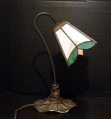 VINTAGE BRASS TABLE DESK LAMP LIGHT LILY PAD SLAG STAINED GLASS SHADE