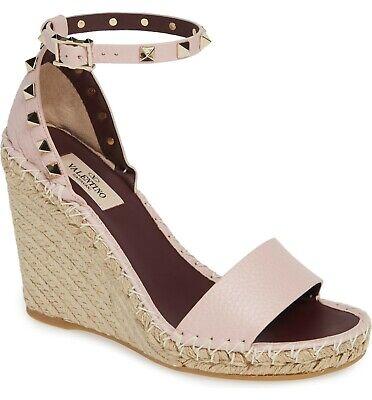 Sz 36 Valentino Rockstud Espadrilles Wedge Sandals Ankle Strap Slingback Shoes