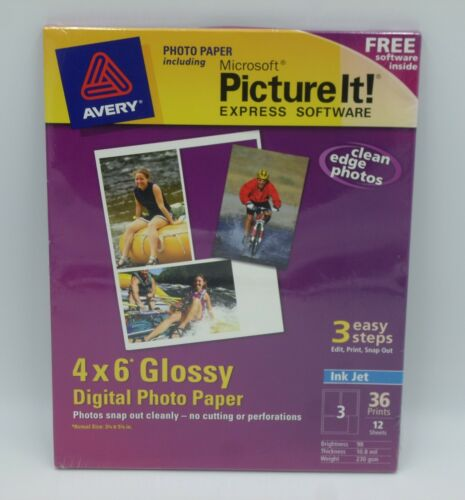 Avery Ink Jet 4 X 6 Glossy Digital Photo Paper 12 Sheets Microsoft Picture It