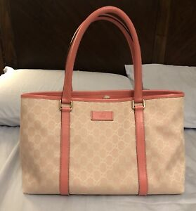 Authentic Gucci Pink Canvas Top Handle Bag