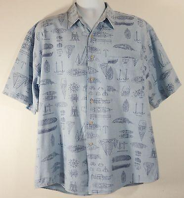 Eddie Bauer Mens XL Camp Shirt Sail Boat Diagram Boating Terms Light Blue