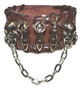 Leather Skull & Bullet Bracelet Strap (Gothic Punk Steampunk Cosplay Emo Lolita)