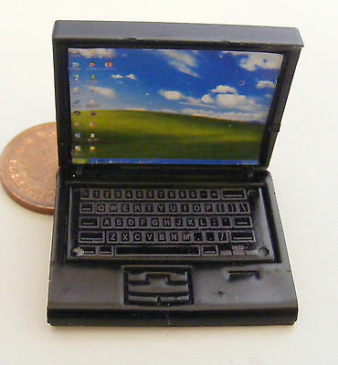 1:12 Scale Black Dolls House Miniature Modern Laptop Computer Office Accessory