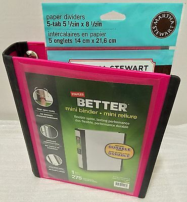 Staples Better Mini Binder 5.5 X 8.5 With 5 Tab Martha Stewart Paper Dividers