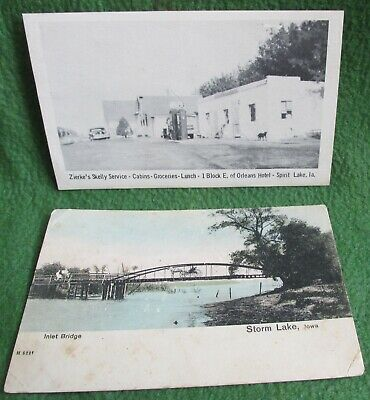 2 Old Post Cards Storm Lake & Spirit Lake Iowa