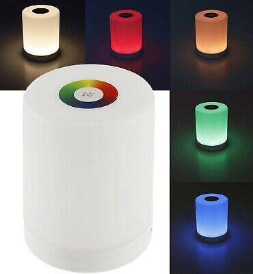 LED Tischleuchte mit Touch-Funktion Li-Akku Farbe Warmweiß + RGB (rot/grün/blau)