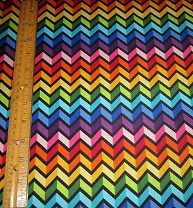 1 Yard Of ZIG ZAG RAINBOW STRIPES With BLACK On 100 Cotton Fabric