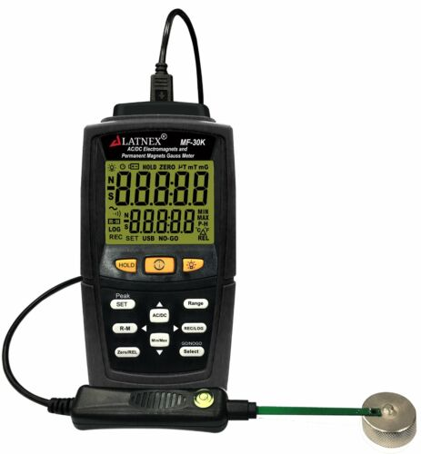 MF-30K AC/DC Gauss Meter with Certificate, Measures Magnetic Fields Strength