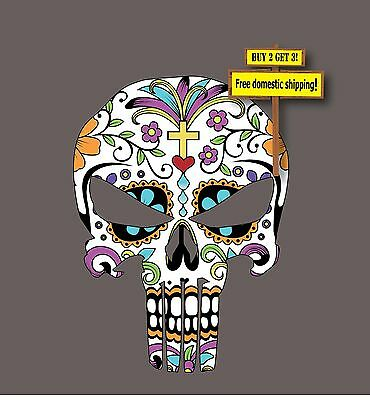 Sugar Skull JDM Day of the Dead Punisher Decal Sticker Dia De Los Muertos - Day Of The Dead Stickers