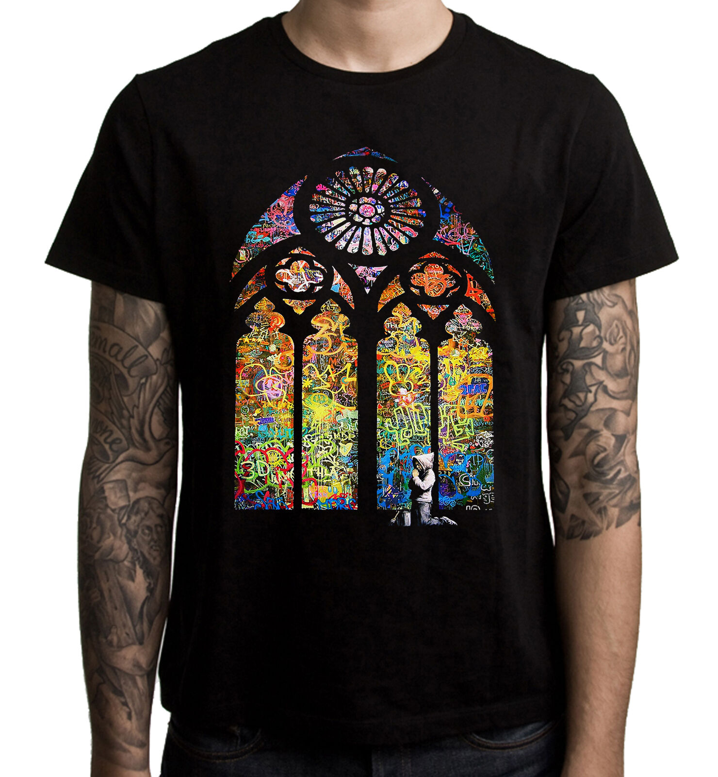 Banksy Panda Baseball T-Shirt Herren S-3XL Urban Graffiti Cool Mode T-Shirt Top