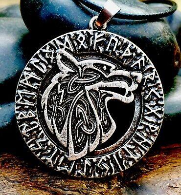 Silver Plate Celtic Viking Fenrir Wolf Pendant Necklace