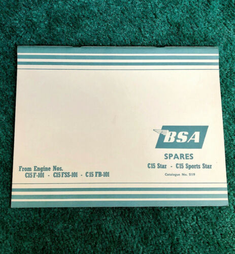 NOS ORIGINAL 1965 BSA MOTORCYCLE PARTS MANUAL CATALOG C15 STAR SPORTS 250