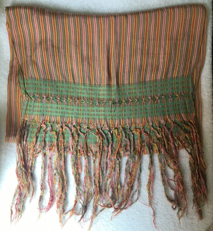 XIX 19th Century Antique Mexican Silk Rebozo