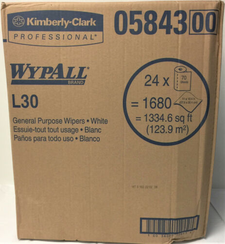 Wypall L30 Roll All Purpose Cleaning Wipers, 70 Wipers per Roll, 24/Case, 05843