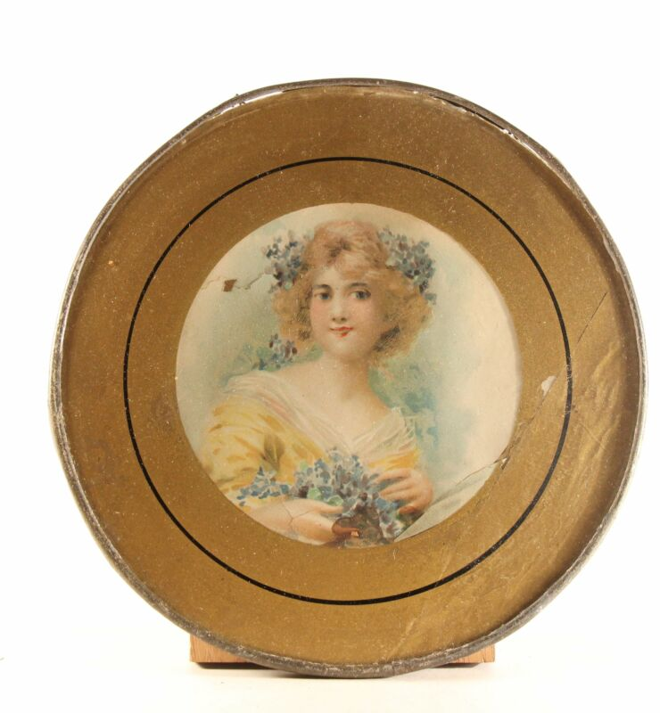 """Antique 8"""" Flue Cover """"Girl With Blue Flowers"""" Glass With Metal Frame"""
