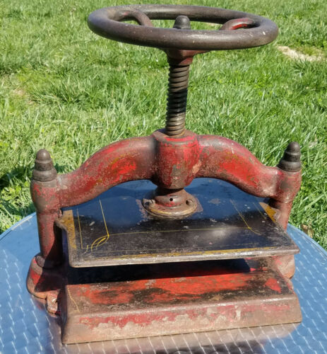 Antique Cast Iron Book Press original worn finish