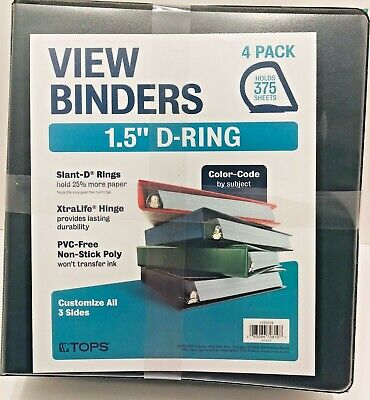 Tops 4 Pack Multi Color View Binders 1.5 D Ring New Black Green Blue Red