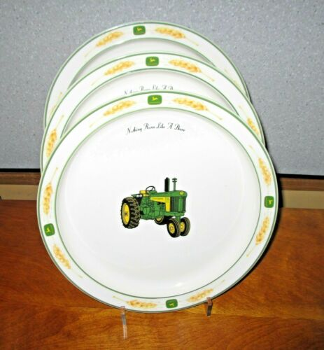 "Gibson JOHN DEERE Lot 3 Dinner Plates Amber Waves Rim Style 10-3/4"" Tractor EUC"