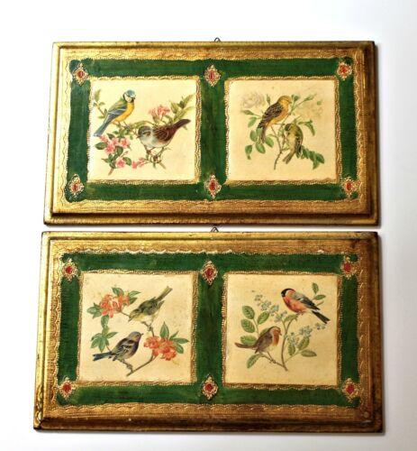 2 vintage Italian Florentine wooden bird plaque picture