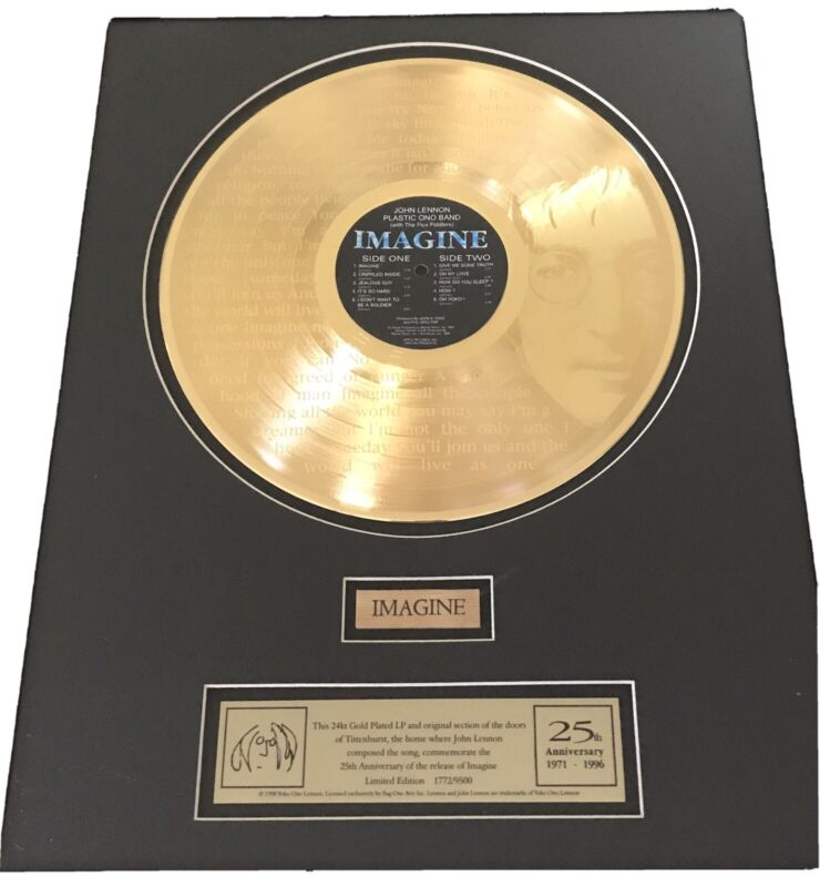 Beatles- John Lennon - Imagine 24KT GP Record 25th Anniversary- 1772/9500